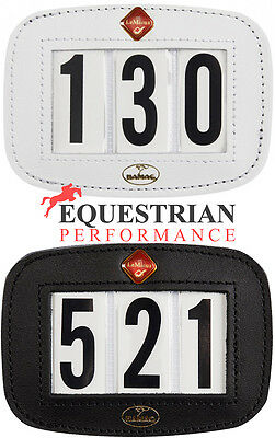LeMieux Hamag Leather Saddle Cloth / Pad Number Holder Display - Black or White
