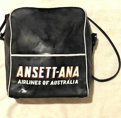 Vintage Airline Bag. Ansett Australian ANA.Navy Blue. Retro Bag.