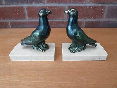 Pair French Vintage/Art Deco Bronzed Spelter Birds On Marble Book Ends