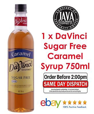 Davinci Sugar Free Caramel Flavoured Syrup 750ml Bottles Cafe Gift Bakery