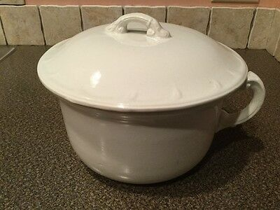 Antique White chamber pot three quart  large