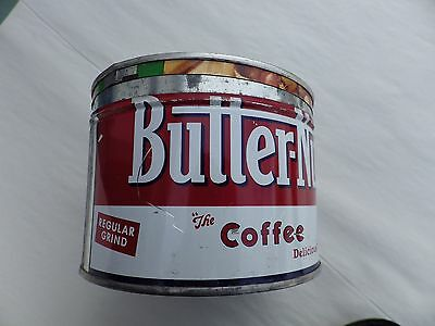 Vintage BUTTER-NUT COFFEE CAN 1 Lb Buster Brand Top