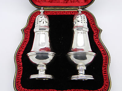 Boxed Victorian Pair of Solid Silver Robert Stebbings Pepper Pots 1894 London