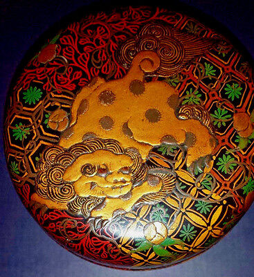Round Asian Lacqueur Box With Fierce Lion, Dragon, Foo Dog?