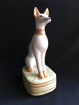 Vintage Figurine White Whippet Dog On Base Ceramic A Good Dog