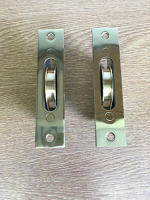 2 X Caldwell Rt Sash Window Axle Pulleys Polished Brass Face Plate And Roller