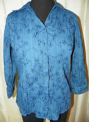 Navy Blue Shirt Women's Large L Embroidered 3/4 Sleeve Button Front Career
