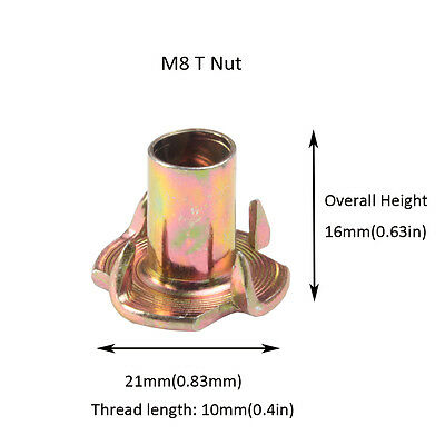 4 Prong T-Nut M4 M5 M6 M8 M10 Tee Blind Nuts Zinc Plated Used For Wood Furniture