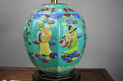 19th/20th C. Chinese Molded Famille-rose Octagon Jar