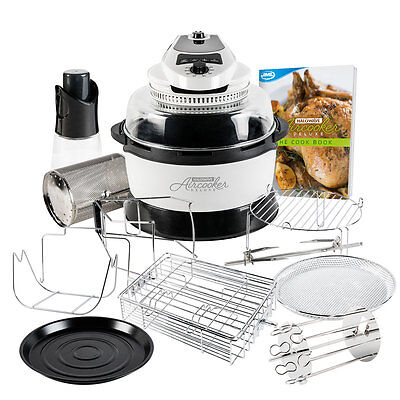 JML White Halowave Oven Aircooker Deluxe Halogen Cooking Rotisserie Function 14P