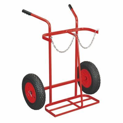 Sealey ST28P Welding Bottle Trolley with Pneumatic Tyres - 2 Bottle