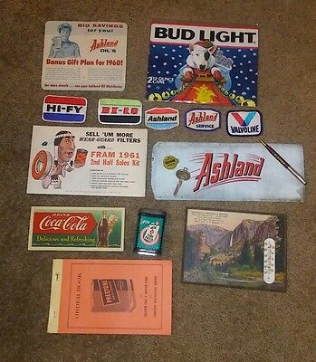 vintage ashland oil lot ace junk drawer Sinclair thermometer advertising gas