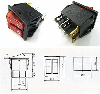 2 Pcs CESS Hull Shape Snap-in KCD4 6Pin ON-OFF 2-Switch With Lamp