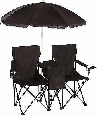 Trademark Innovations Double Folding Camp and Beach Chair with Removable Umbrell