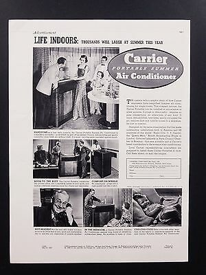 1937 Vintage Print Ad | 1930s Carrier Portable Summer Air Conditioner
