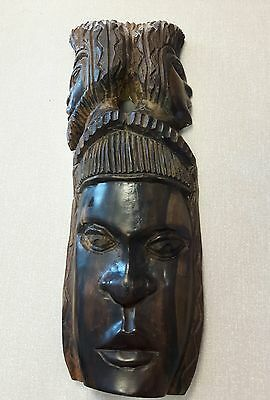 Heavy Tribal Carved Wood Wall Hanging Mask with 3 Heads. Lovely piece of wood.