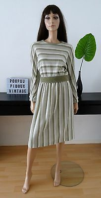 Robe vintage Made in France tricot kaki/blanc taille 38/40 - taille M