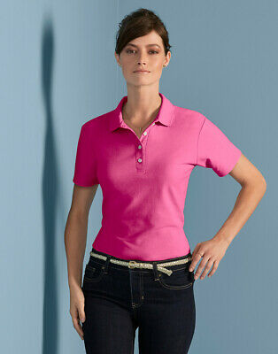Gildan Ladies Pique Polo Shirt Semi Fitted 100% Soft Cotton Smart Workwear Top