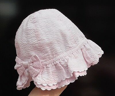 Baby Girls Pink Striped Sun Hat, 0-3 Months