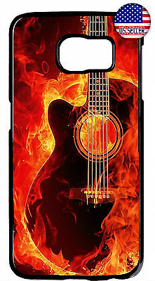 For Samsung Galaxy S10e S10+ S9 S8 Guitar Flames Strings Music New Case Cover