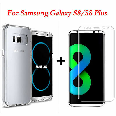 For Samsung Galaxy S8/Plus Full Curved Clear Screen Protector Film+Soft TPU Case