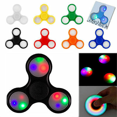 LED Fidget Spinner with Lights EDC Stress Relief Focus Hand Finger Toy Kids