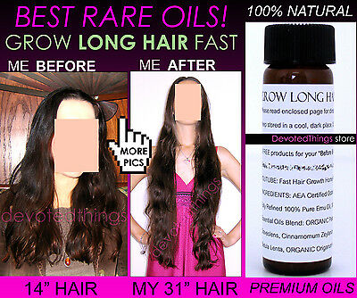 3 Before and After Natural Organic Oils Fast Hair Growth Oil Serum Grow Long