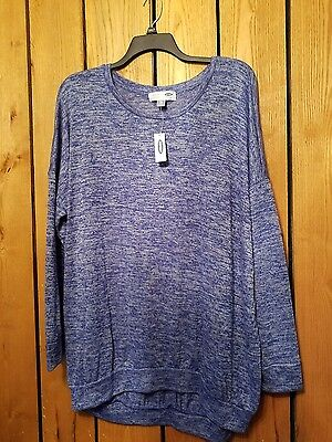 Womens Size 2XL Old Navy Maternity Long Sleeve Blue Comfy Oversized Shirt NWT