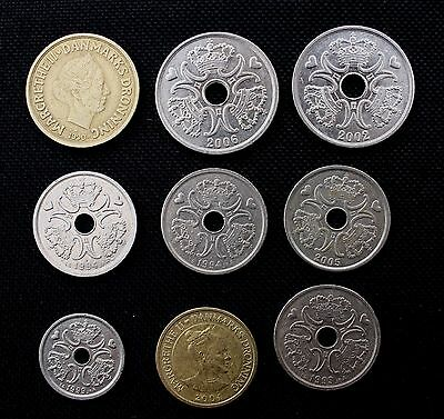 9 x  NICE COINS OF DENMARK DATED 1990-2006] 1 KNONER TO 20 KRONER COINS