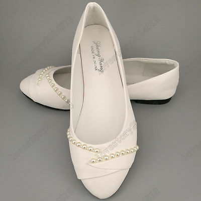 Womens white pearls flat ballet Wedding shoes Bridal Shoes Pumps size 5-8