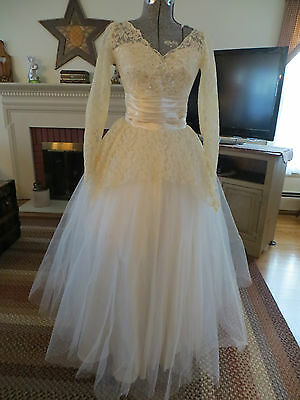 Vintage 50's Ivory Tulle Satin Seed Pearls Sequins Cupcake Wedding Gown