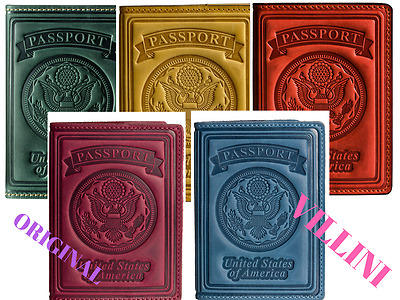 Villini Leather Passport US Holder Cover Case for Men 5 Colors 3D Embossing