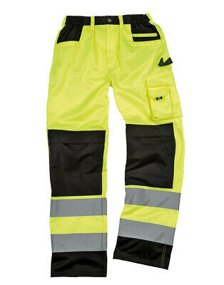 Result Cargo Trousers Workwear Hi Viz Visibility Reflective Knee Pad Pockets New