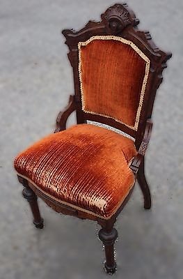 19th c. Renaissance Revival Parlor Chair - Walnut & Burnt Sienna