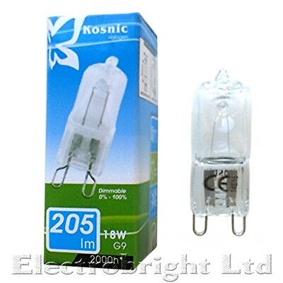 Kosnic/Eveready G9 HALOGEN 18w=25w,25w/40w 28w/33=40w/42w=60w DIMMABLE bulbs UK