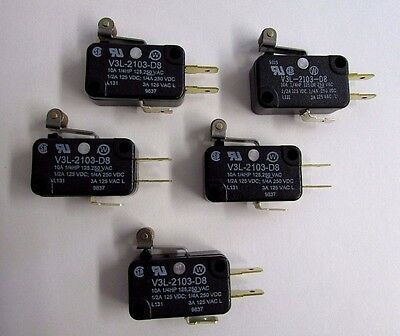 Lot of 5 Honeywell Switch Snap Action Roller Lever V3L-2103-D8 NEW