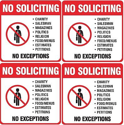 4pcs NO SOLICITING Sign Self Adhesive Vinyl Long Lasting Decal for home & Office