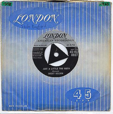 "Ricky Nelson - Just A Little Too Much - 7"" Single"