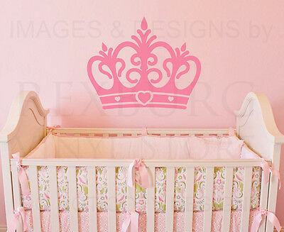 Princess Crown Large Girl Room Baby Nursery Wall Decal Vinyl Sticker Art G62