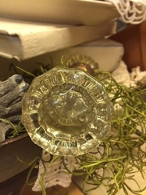 ANTIQUE VINTAGE 12 POINT CLEAR GLASS DOOR KNOB-Two Glass Knobs