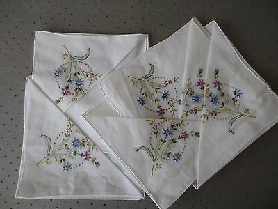 Set of 6 Vintage embroidered handkerchiefs unused in original packaging.