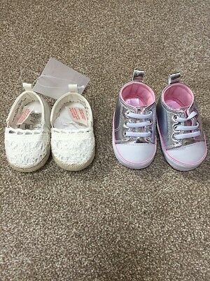 Baby Girl Shoes 0-3 Months 2 Pairs New
