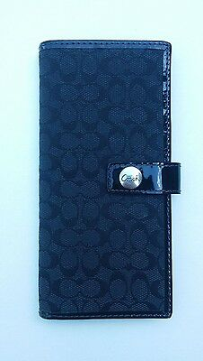 Coach Black Signature Checkbook Cover with Patent Leather Trim