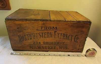Early Antique Wooden Advertising Box Shipping Crate NORTHWESTERN EXTRACT CO.