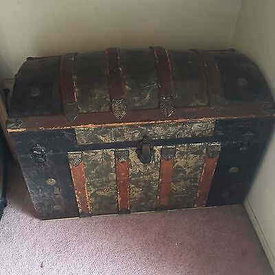 Vintage Camel Back Steamer Trunk