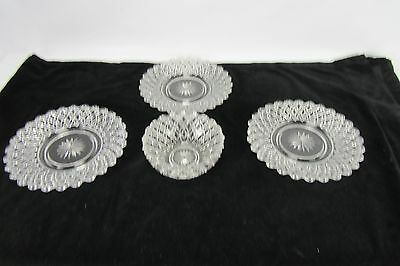 Vintage Ornate Clear Cut Glass Lot of 1 Bowl & 3 Plates Bryce Higbee Nailhead