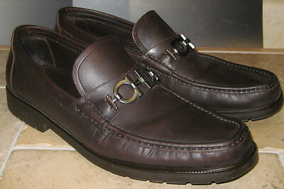 Salvatore Ferragamo Mens Dark  Brown Leather Shoes Size 13 EE ITALY