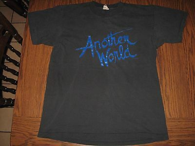 Vintage '87 Another World SONG soap opera black 100% cotton mens t-shirt size L