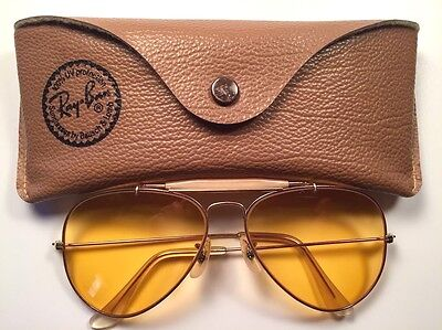 Vintage B&L Ray Ban Amber Gold Aviator Sunglasses with Case - 58[]14mm
