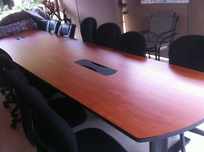 16 ft Office Conference Table And Eight cloth Chairs for Boardroom Meeting Room